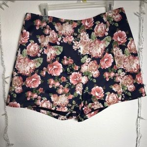 LEITH floral high waisted dress shorts size Large